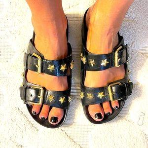 ASH black star studded 2 buckle sandals size 36